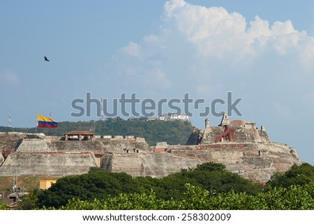 Historic castle of San Felipe De Barajas on a hill overlooking the Spanish colonial city of Cartagena de Indias in Colombia. - stock photo