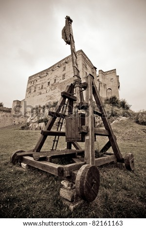 historic catapult,Trencin castle, Slovakia - stock photo