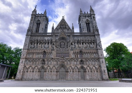 Historic cathedral in Trondheim - stock photo