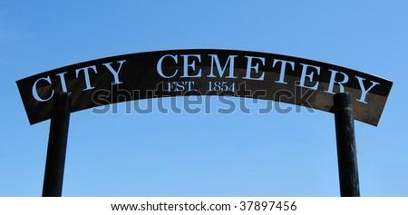 Historic cemetery entrance - stock photo
