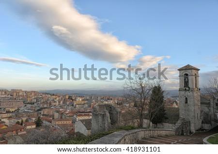 Historic center of Campobasso, ancient village, Monforte Palace - stock photo