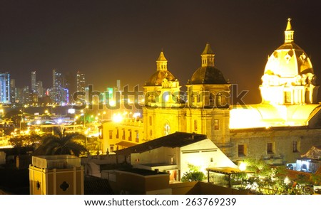 Historic center of Cartagena and boca grande at night. cartagena colombia - stock photo