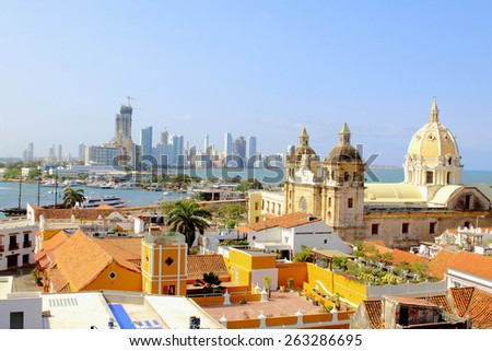 Historic center of Cartagena, Colombia with the Caribbean Sea visible on two sides - stock photo