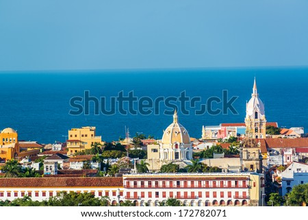Historic center of Cartagena with several important churches visible - stock photo