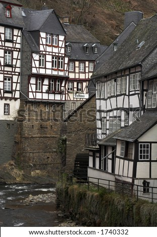 Historic center of Monschau village (Germany) at the Rur river.