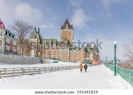 Historic Chateau Frontenac in Quebec City - stock photo