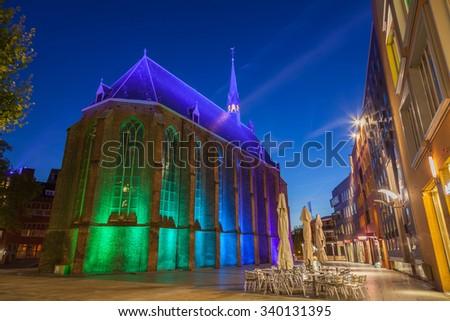 Historic church at dusk twilight - stock photo