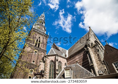 historic church in the old town of Amsterdam, The Netherlands - stock photo