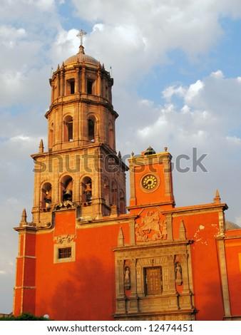 Historic Church of San Francisco in the colonial city of Queretaro, Mexico. - stock photo
