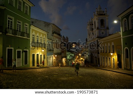 Historic city center of Pelourinho Salvador da Bahia Brazil features colonial buildings and cobblestone streets in a night view - stock photo