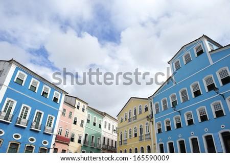 Historic city center of Pelourinho Salvador da Bahia Brazil features colorful colonial architecture - stock photo