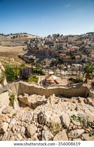 Historic City of David ruins and contemporary palestinian settelments Jerusalem, Israel - stock photo