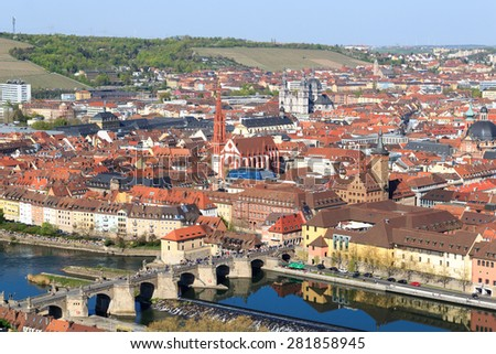 Historic city of Wurzburg with bridge Alte Mainbrucke, Germany - stock photo