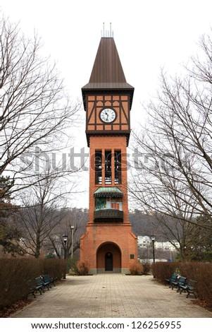 Historic clock tower in Goebel park near Cincinnatti - stock photo