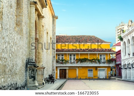 Historic colonial buildings next to the cathedral in Cartagena, Colombia - stock photo