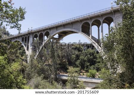 Historic Colorado Blvd bridge in Pasadena, California. - stock photo