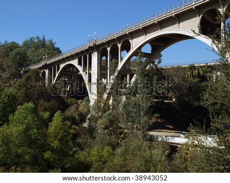 Historic Colorado Street bridge in Pasadena California. - stock photo