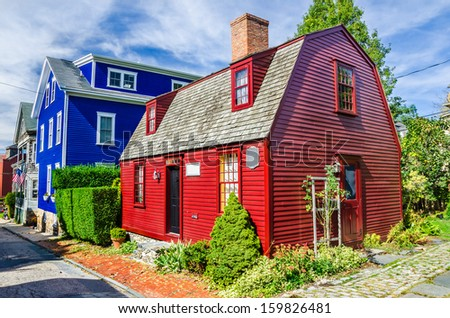 Historic Colourful Wooden House in Newport, Rhode Island - stock photo