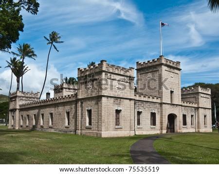 Historic complex near Iolani Palace in Honolulu, Hawaii - stock photo