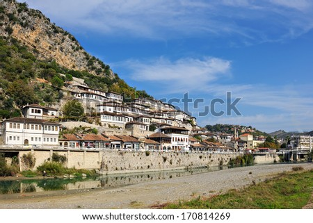 Historic district of Berat on the Osum River, Albania