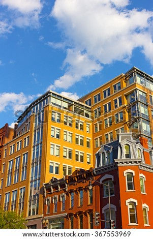 Historic district of US capital near Metro center. Urban architecture of Washington DC in the evening. - stock photo