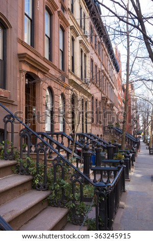 Historic district of West Village, New York. - stock photo