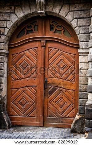 historic door - stock photo