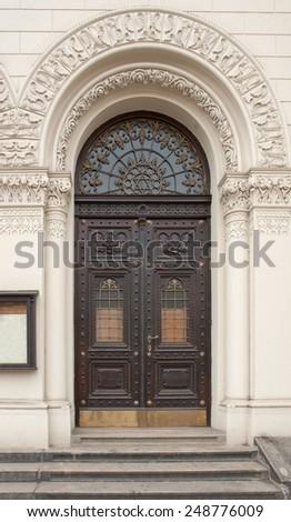 historic door seen in Pilsen, a city in the Czech Republic - stock photo