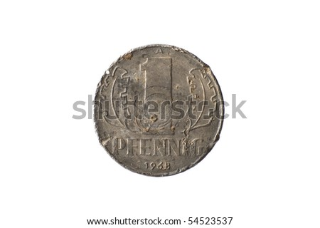 "Historic East-German coin ""1 Pfennig"" - obverse - stock photo"