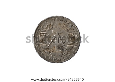 "Historic East-German coin ""1 Pfennig"" - reverse - stock photo"