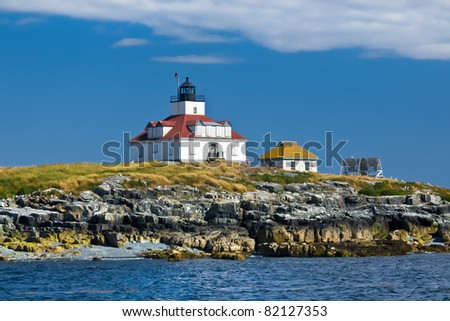 Historic Egg Rock Lighthouse in Maine - stock photo