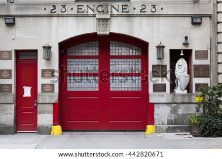 Historic Engine Company 23 Firehouse in Manhattan. - stock photo