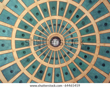 historic expanding Circle pattern in a Spanish colonial-style from dome in Plaza in San Jose, Costa Rica. - stock photo