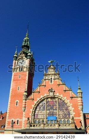 Historic exterior of railway station in Gdansk, Poland