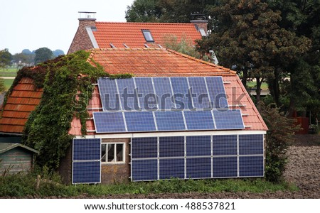 Historic farm house with modern solar panels on roof & wall, the Netherlands