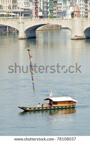Historic ferry in Basel,Switzerland - stock photo