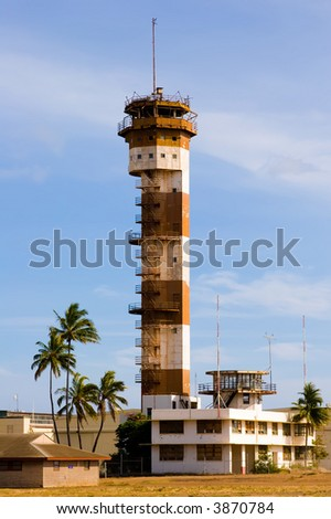 Historic Ford Island aviation control tower at Pearl Harbor Hawaii - stock photo