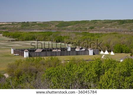 Historic Fort Carlton in central Saskatchewan of the Canadian Prairies. - stock photo