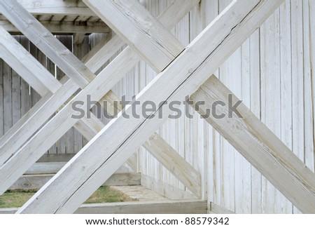 historic Fort Union Trading Post cross beams - stock photo