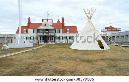 historic Fort Union Trading Post interior and native american teepee - stock photo