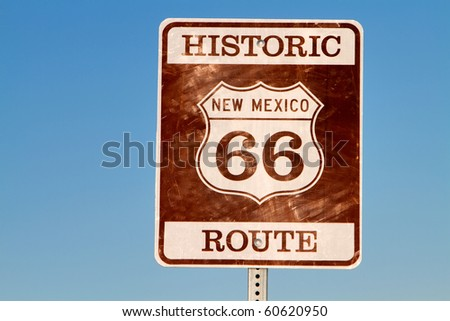 Historic grunge looking route 66 sign in new mexico - stock photo