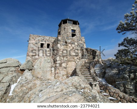 Historic Harney Peak Fire Tower in Black Hills National Forest - stock photo
