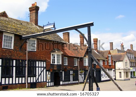 Historic High Street in Crawley West Sussex England on a summer day - stock photo