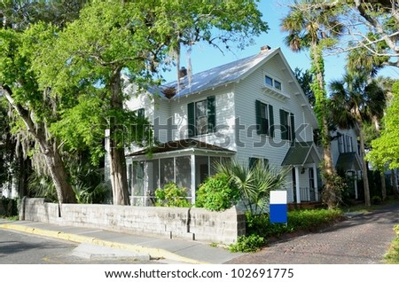 Historic home for sale at St. Augustine, Florida, USA. - stock photo