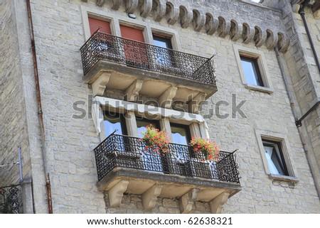 historic homes in the Republic of San Marino near Italy - stock photo