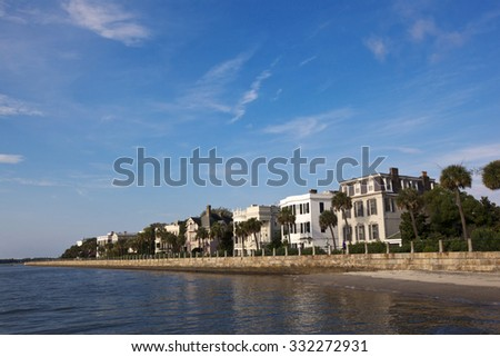 Historic homes line the Charleston waterfront in south Carolina. - stock photo