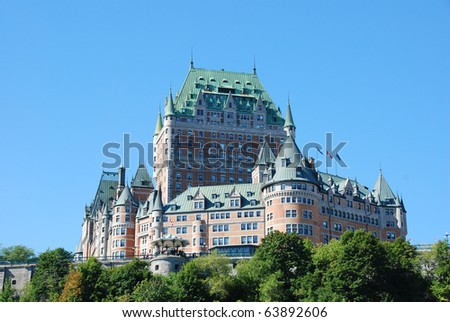 Historic Hotel Frontenac in Quebec City - stock photo