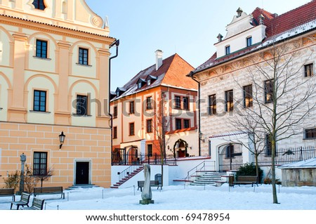 Historic houses in Cesky Krumlov during the winter time.