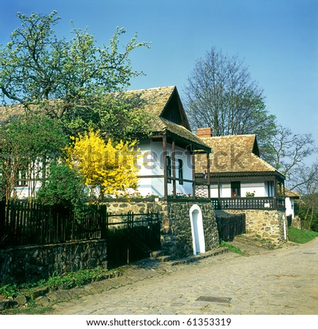 Historic houses in the village of Holloko, Hungary, UNESCO - stock photo