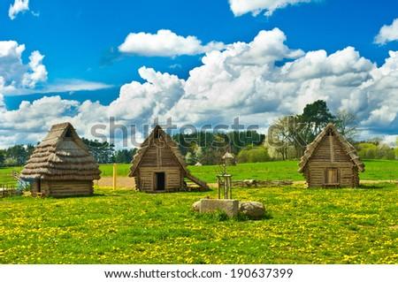 historic huts - stock photo